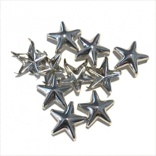 Schmucknieten Sterne, silberfarben, ca.1cm groß, 10Stück